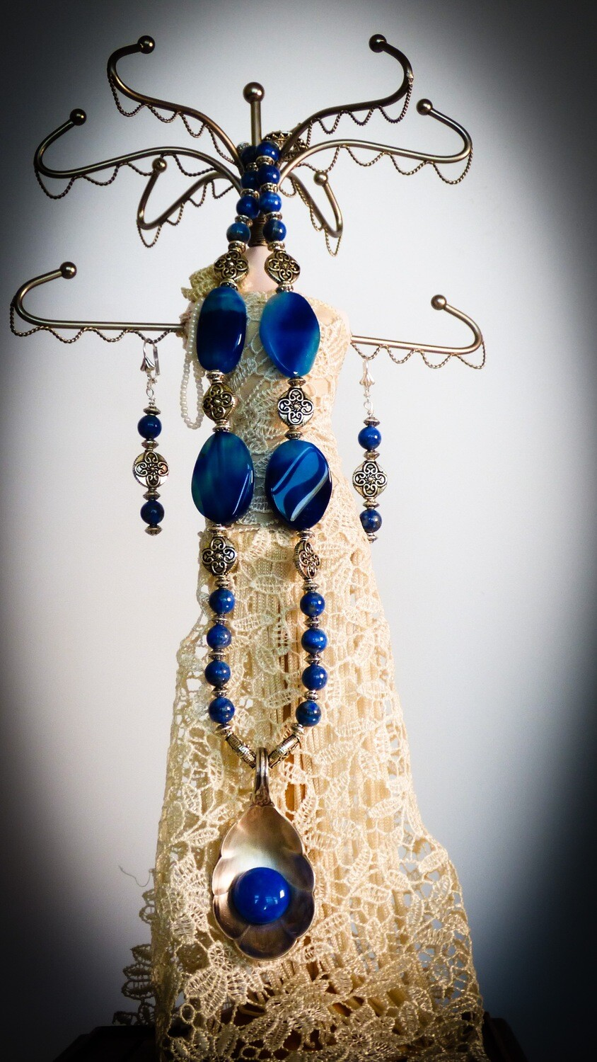 Blue Pearls & Blue Pendant Spoon From 1800's